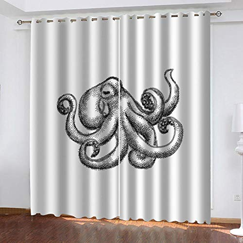 Ahooseso Blackout Curtains For Living Room - Super Soft Thermal Insulated Eyelet Curtains - Bedroom Nursery Decoration Curtains Cartoon Hand Drawn Animal Octopus 3D Printed 170(W) X200(H) Cm 2 Panel