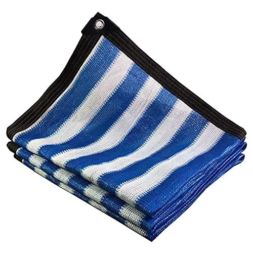 WZHIJUN 90% Bloqueador Solar Paño de Sombra Exterior Terraza Jardín Piscina Anti-UV Red de Sombra, Azul Blanco Raya (Color :...