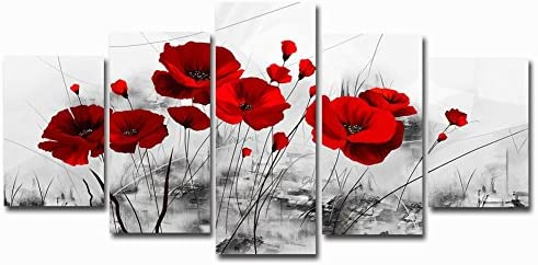 Red Poppy Flowers Artwork Abstract Grey Background Chinese Ink Painting Canvas Print Wall Art product image
