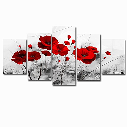 Red Poppy Abstract Flowers Painting Art Black and White Chinese Ink Artwork 5 Panel Canvas Picture Wall Decor for Living Room Ready to Hang