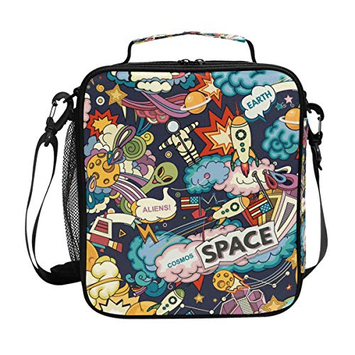 Hupery Cartoon Space Rockets Lunch Box Insulated Lunch Bags Thermal Lunch Container Leakproof Easy Clean Lunch Bag With Long Strap Mesh Compartment Lunch Bags
