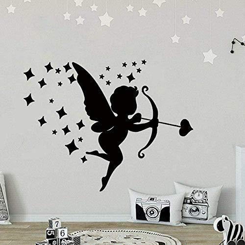 Muursticker Decal Liefde Cupid muur Decal Home Window Stickers Kids Slaapkamer Baby Kamer Kwekerij interieur Angel Wings Leuke Kunst Mural 57 * 72Cm
