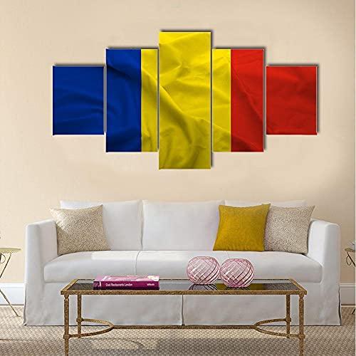 ARIE 5 Teiliges Wandbild Wege Flagge Von Rumänien Hd Gedruckt 5 Stücke Leinwand Malerei Wandkunst Wohnzimmer Wohnkultur Weihnachten Kreative Geschenke