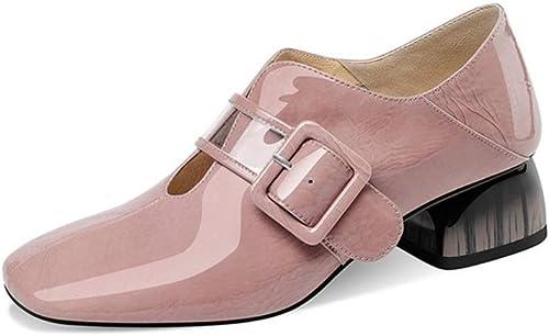 Feaona Chaussures pour Femmes Nouvelles Chaussures pour Femmes Femmes Femmes Tête carrée avec Boucle de Ceinture à la Mode Petites Chaussures Bouche Profonde épaisse avec des Chaussures en Cuir Rose 234