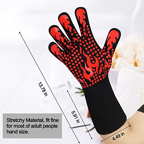 BBQ Gloves, 1472°F Heat Resistant Grilling Gloves Silicone Non-Slip Oven Gloves Long Kitchen Gloves for Barbecue, Cooking, Baking, Cutting
