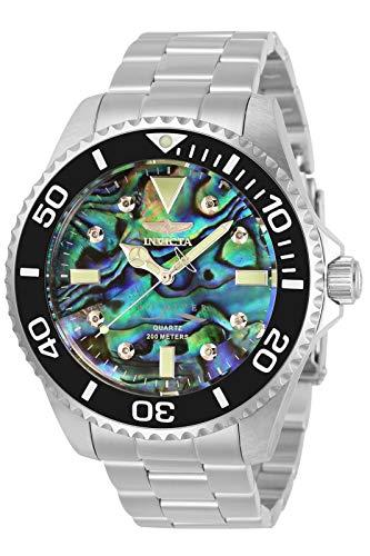 Invicta Men's 47mm Pro Diver Diamond Quartz Abalone Dial Silver Tone...