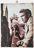 Cuadro de estilo vintage Marilyn Monroe & James Dean de colección, impresión sobre madera, 40 x 30 cm.