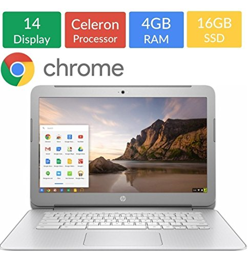 HP 14in Flagship Chromebook, Full HD IPS 1920 x 1080, Celeron N2940 up to 2.25GHz, 4GB RAM, 16GB SSD, WiFi, Bluetooth, HDMI, Webcam, No-DVD, Chrome OS-White (Renewed)