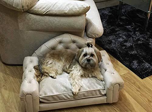 Jaukumo Vizija Steve - Hundesofa Chesterfield hundebett Couch, Katze, Farbe braun, Größe 76 x 49 cm, Handmade (S (76 x 49 cm), Braun)
