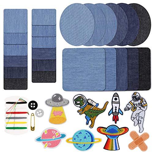 VGOODALL Patches Zum Aufbügeln, 32 Stück 4 Farben Patches Flicken zum Aufbügeln Knieflicken KinderDenim Aufbügelflicken für Jeans, DIY Taschen mit Nähzeug