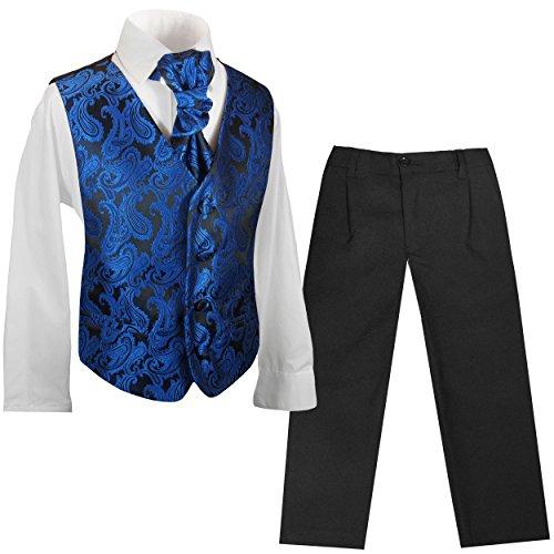 Paul Malone Kinder Weste für Jungen 4tlg festlich schwarz blau Paisley + Plastron + Hemd + Hose 128-134 (8 Jahre)