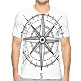 AIQIIA Mens 3D Printed T Shirts,Hand Drawn Compass Windrose North and South East West Directions Black and White XL