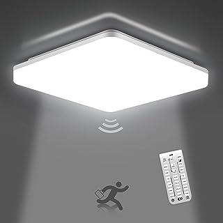 OEEGOO Plafonnier led dimmable, 18W 1800LM Plafonnier led avec détecteur de mouvement, Lampe de plafond IP54 étanche, Appl...