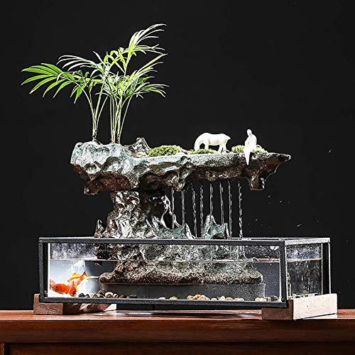 NAN Dispositivo De Flujo De Agua De Estilo Chino Micropaisaje Paisaje Natural Pecera De Vidrio Decoración De Cerámica Zen...
