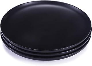 BonNoces 10-inch Matte Porcelain Dinner Plate, Elegant Large Round Serving Plates for Steak, Pasta, and Salad, Set of 3 (M...