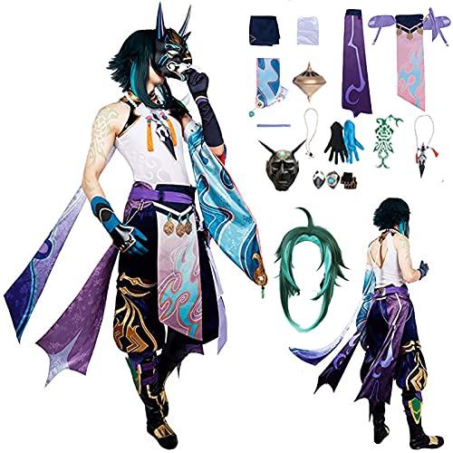 QDX Genshin Impact Xiao Cosplay Costume Cosplay Cosplay Juego Xiao Halloween Luxury Set L