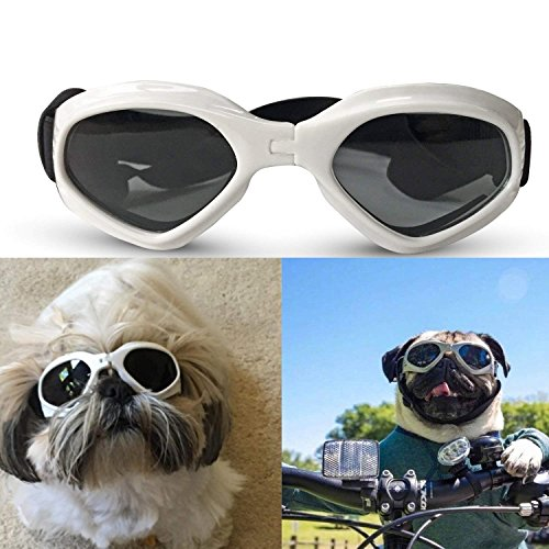 Z-YQL Dog Goggles Doggie Sunglasses, UV Protective Puppy Windproof Eyewear Adjustable Glasses for Small Medium Pets Dogs (White)