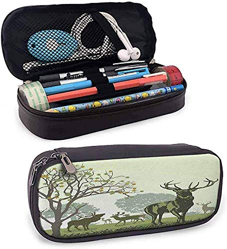 HQSL Astuccio in pelle Antlers Leather Pencil Case Deer and Wildlife in Park World Natural Heritage Forest Areas Reindeer
