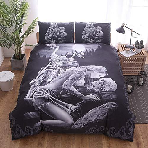 QQWZ Juego de cama con funda de edredón y funda de almohada de microfibra (240 x 260 cm), diseño de calavera, color negro