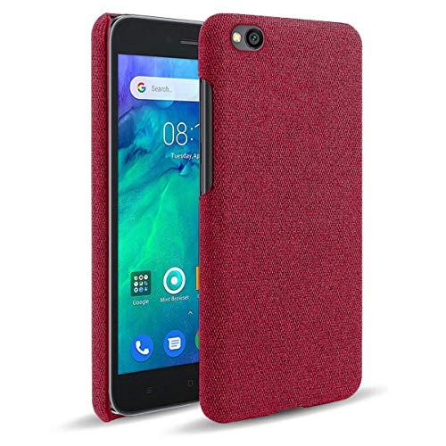 LUSHENG Funda para Xiaomi Redmi Go, Funda para Teléfono Inteligente Lona Color para Xiaomi Redmi Go, Ultrafina, Ligera y Duradera - Rojo