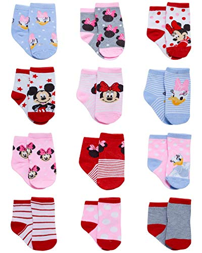 Disney Baby Girls Minnie Mouse Character Design Socks 12 Pack (Newborn and Infants) (Minnie & Daisy, Age 0-6M)