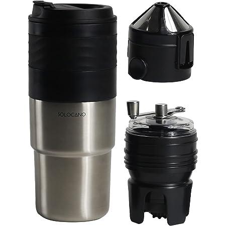 ソロカノ SOLOCANO コーヒーミル 電動 手動 グラインダー 電動ミル コーヒー ミル コーヒーメーカー 電動コーヒーミル コーヒー豆 ひき機 オールインワン コンパクト 水洗い可能 ブラシ付き お手入れ簡単 ボダン一つで 427ml (シルバー)フルセット 専用ケース付き