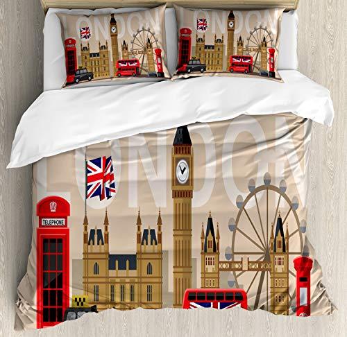 ABAKUHAUS Londen Dekbedovertrekset, Groot-Brittannië Landmarks, Decoratieve 3-delige Bedset met 2 Sierslopen, 230 cm x 220 cm, Veelkleurig