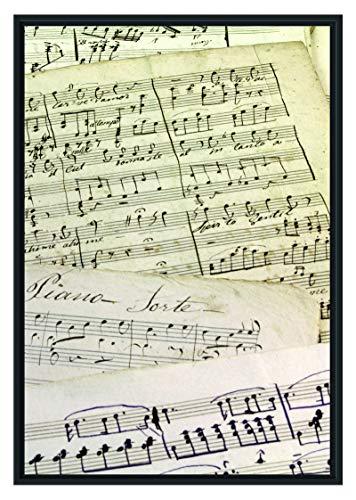 Picati Stilvolle alte Notenblätter im Schattenfugen Bilderrahmen | Format: 100x70 | Kunstdruck auf hochwertigem Galeriekarton | hochwertige Leinwandbild Alternative