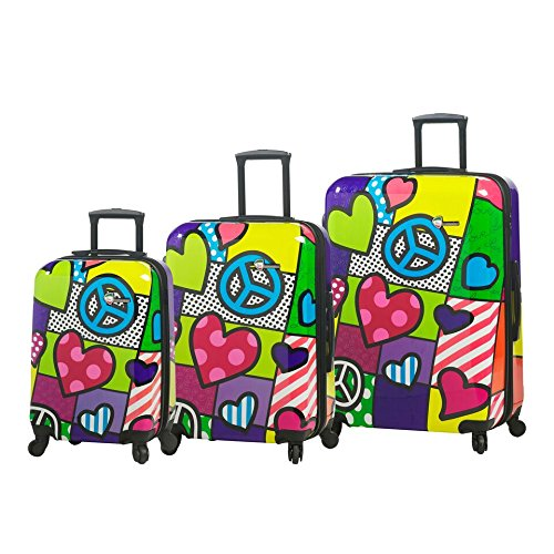 Mia Toro Italy-Peace and Love Hardside Spinner Luggage 3 Piece Set,...