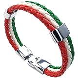 SODIAL Bijoux a bracelet Bracelet tisse en alliage en cuir a couleur de drapeau italien pour les hommes et les femmes - vert et blanc et rouge (largeur 14 mm, longueur 23 cm)