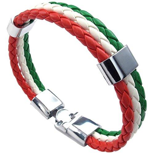 Pulsera tejida - SODIAL(R) pulsera de joyeria, brazalete de bandera italiana, de aleacion de cuero, para hombres mujeres, verde blanco rojo, (anchura 14 mm, longitud 23 cm)