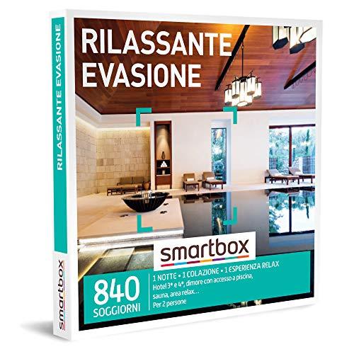 Smartbox - Rilassante Evasione - Cofanetto Regalo Coppia, 1 Notte con Colazione e Pausa Relax per 2 Persone, Idee Regalo Originale