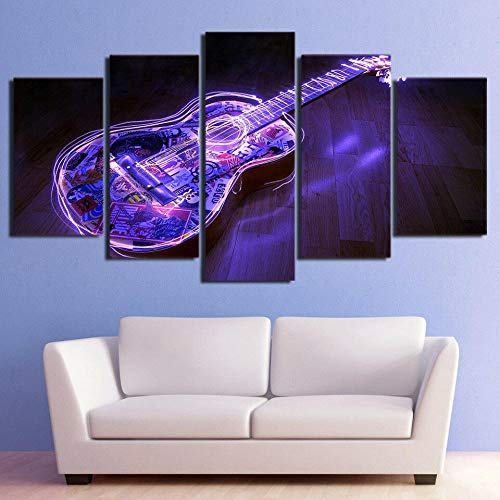 GHYTR Imagen sobre Lienzo Cuadros Abstractos Modernos XXL Poster 5 Piezas Luces Led De Guitarra Púrpura 3D Eléctricas Arte De Pared Imágenes Modulares Sala De Estar Decoración para El Hogar 150X80Cm
