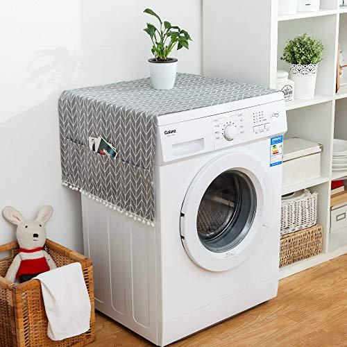 Sourcemall kylskåp dammskydd multifunktion tvättmaskin toppskydd med 6 förvaringsfickor, 2 st/paket