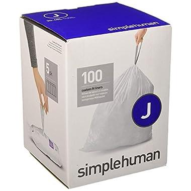 simplehuman Code J Custom Fit Liners, Tall Kitchen Drawstring Trash Bags, 30-45 Liter / 8-12 Gallon, 100-Count Box