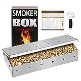 GFTIME - Caja de Barbacoa ahumadora para Accesorios de Barbacoa de Gas, carbón y hervidor, Embalaje con raspador de Acero Inoxidable e imán para la Temperatura de la Carne