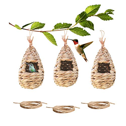 Emalie Bird Houses for Outside Hanging, Set of 3 Hummingbird House with Rope for Outdoor, Grass Hand Woven Birdhouse, Small Chickadee & Bird Hut for Finch & Canary, Gardening Gift (Waterdrop Shape)