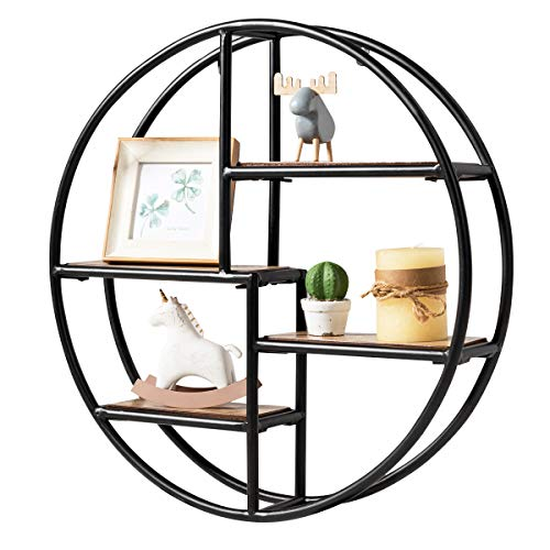 Tangkula Round Wall Shelf, Wood & Iron Wall-Mounted Shelves, 4-Tier Floating Shelves, Decorative Wall Hanging Shelves for Home Bedroom Living Room Kitchen and Office, Circular Wall Shelf (1, Black)