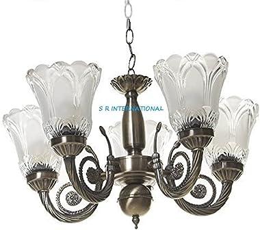 Ceiling Lights Glass Chandelier 5 Lamps Jhoomer Antique Design Brass Lamps Brown for Home Decoration Modern Living Room Bedro