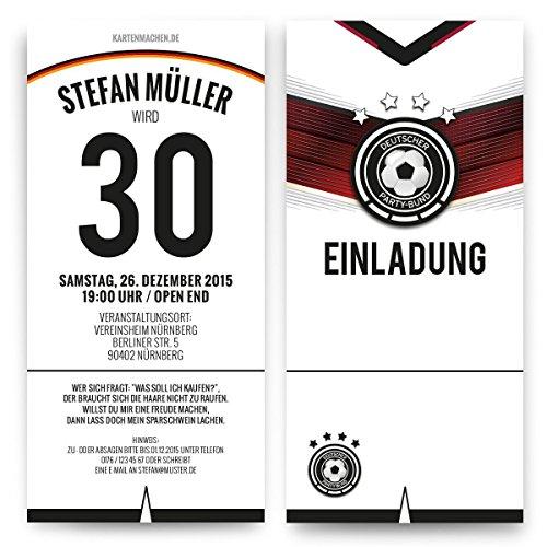 Einladungen (40 Stück) zum Geburtstag Deutschland Fußball Trikot 4 Sterne Einladungskarten