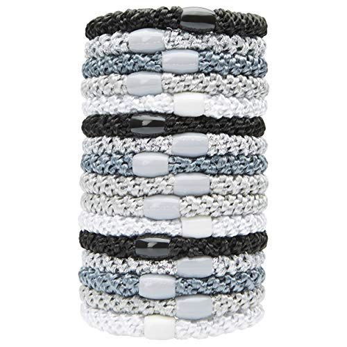 L. Erickson Grab & Go Ponytail Holders, Light Silver Metallic, Set of Fifteen - Exceptionally Secure with Gentle Hold