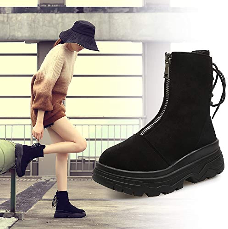 HOESCZS Frauen Schuhe Schuhe Herbst Und Winter Frontzipper Flach Mit Kurzen Martin Stiefel Frauen Dünne Einzelne Stiefel Flache Bare Stiefel  jetzt bestellen