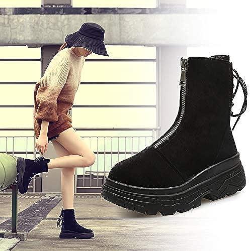 HOESCZS Frauen Schuhe Herbst Und Winter Frontzipper Flach Mit Kurzen Martin Stiefel Frauen Dünne Einzelne Stiefel Flache Bare Stiefel