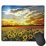 初日の出と太陽の花 マウスパッド おしゃれ 小型 マウスマット ノンスリップラバーベースステッチエッジ付き美しいパターンデスクトップマウスパッド