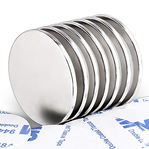 DIYMAG Powerful Neodymium Disc Magnets, Strong, Permanent, Rare Earth Magnets. Fridge, DIY, Building, Scientific, Craft, and Office Magnets,1.26 inch Diameter, Pack of 7