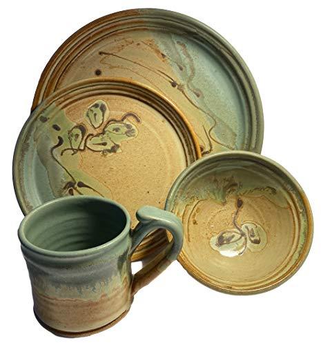 Integrity1 Tischset aus Keramik, handbemalt und handglasiert, mit großem Teller, kleiner Teller, Schüssel und Kaffeetasse, handbemalt und handglasiert, Braun/Beige grün