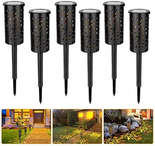 Wythe Juego de 6 lámparas solares LED para jardín, IP54, resistente al agua, iluminación para caminos y exteriores, con estaca para terraza, césped, jardín, caminos (6 unidades #2)