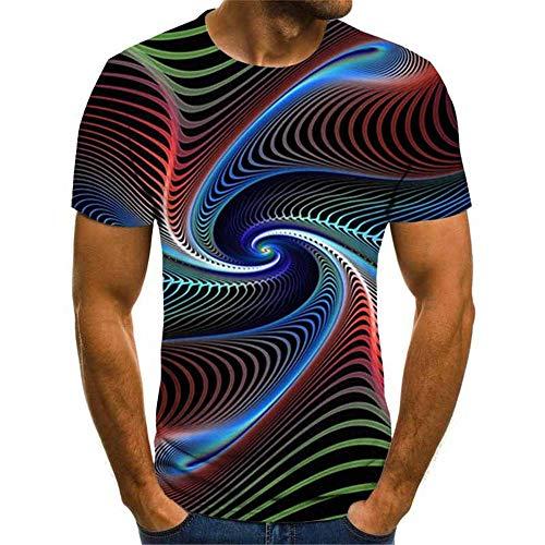 Heren T-Shirt 3D Kleurrijke ladder Gedrukt Korte mouw Zomerclub Straat Tiener Casual Halve mouw Tees Jeugdvakantie Strand Hiphop Sport