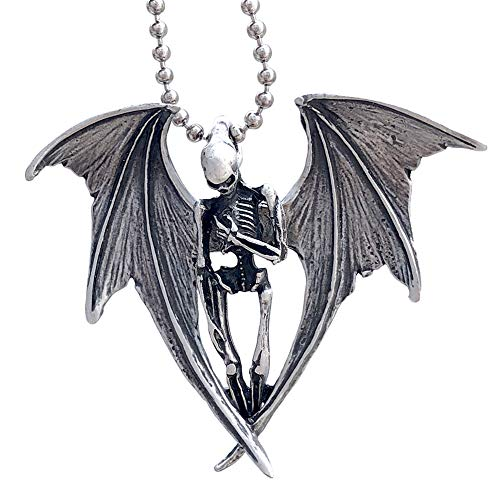 Gothic Halloween Horror Jewelry Winged Vampire Skull Skeleton Corpse Angel of Death Punk Rock Heavy-Metal Biker Protection Amulet Pewter Unisex Men's Pendant Necklace Charm for men Silver Ball Chain