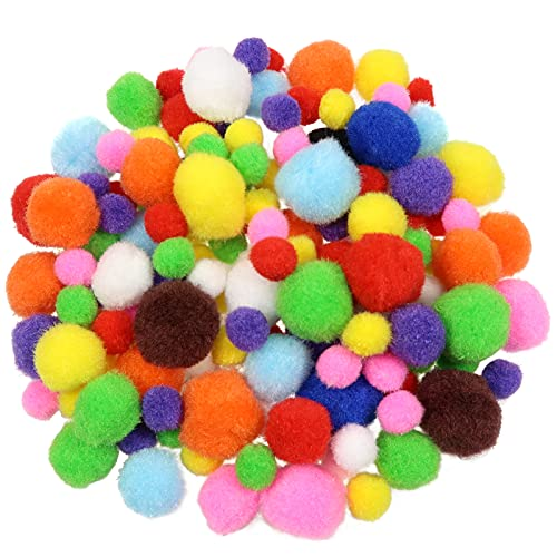 TOAOB 400pcs Assorted Pom Poms Rainbow Colors Fuzzy Pompoms Balls 1.5cm 2.5cm 3.5cm for DIY Creative Crafts Decorations